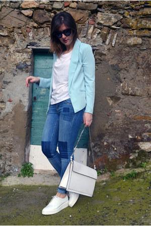 light blue romwe blazer - navy H&M jeans