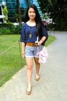 navy navy blue shirt from hongkong shirt - light pink pink bag from Rockwell bag