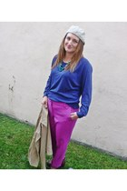 blue American Apparel sweatshirt - hot pink J Crew pants