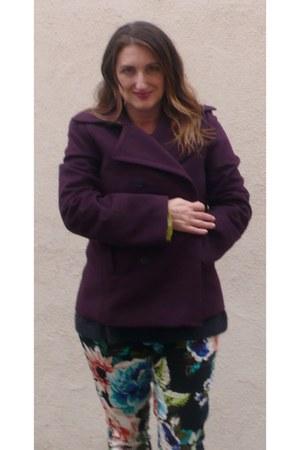 deep purple J Crew coat - black Faryl Robin boots