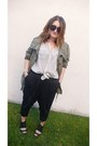 Olive-green-gap-jacket-light-blue-joie-shirt-black-h-m-pants