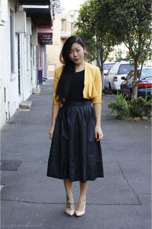 mustard jacket Max & Co jacket - black top sass top - black skirt H&M skirt
