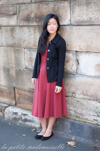 47d8f65750fc54 ruby red dress asos dress - black jacket Laura Ashley jacket
