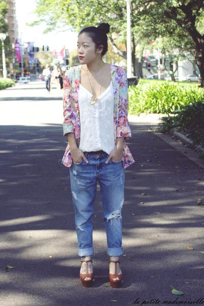 pink jacket Mink Pink jacket - sky blue jeans LTB Jeans jeans