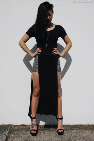black heels Spurr heels - silver shorts vintage shorts - black top sass top