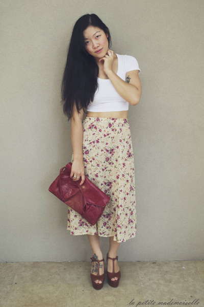 ruby red clutch vintage bag - cream skirt vintage skirt