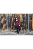 brick red jacket Lioness jacket - black boots Hush Puppies boots