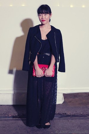 black jacket H&amp;M jacket - hot pink clutch tory burch bag