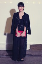 black jacket H&M jacket - hot pink clutch tory burch bag