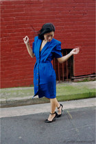 blue dress vintage dress - black heels asos heels