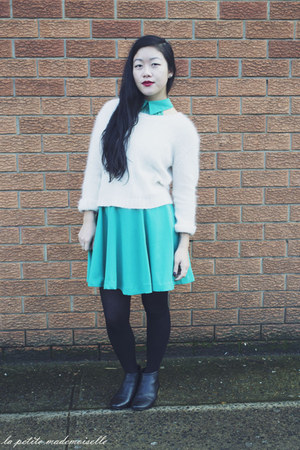 white jumper The Cassette Society jumper - black boots Sachi boots