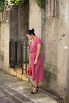 red bag Mimco bag - salmon dress vintage dress - black heels asos heels