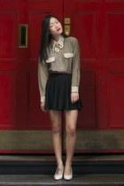 black La Petite Mademoiselle skirt - gold Colette necklace - tan vintage blouse