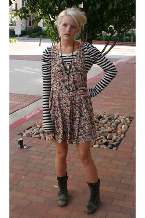 pink free people dress - black free people shirt - gray Steve Madden shoes