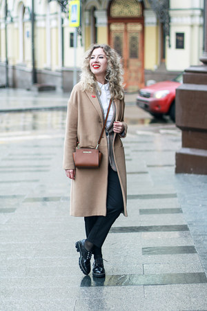 tan Mango blazer - tan Stradivarius coat - tawny Michael Kors bag