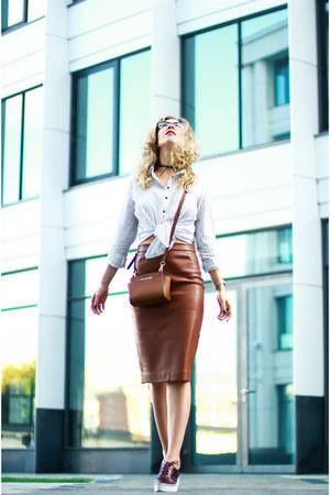 tawny oodji skirt - white reserved shirt - tawny Michael Kors bag