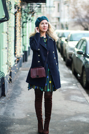 green romwe dress - teal Stradivarius hat - brick red Rebecca Minkoff bag