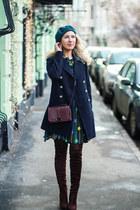 green romwe dress - teal Stradivarius hat - brick red Rebecca Minkoff bag