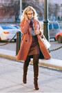 Ruby-red-promod-coat-brick-red-stradivarius-skirt