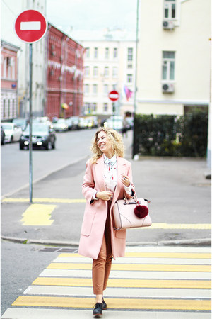 light pink Zara coat - light pink OASAP blouse