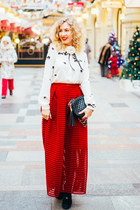 red Chicwish skirt - ivory Zara blouse
