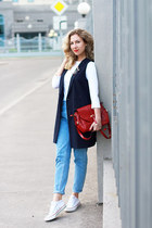 sky blue pull&bear jeans - navy Stradivarius blazer - white Converse sneakers