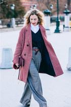 brick red Promod coat - gray Zara pants