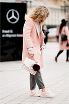 peach Zara coat - ivory reserved shirt - light pink Stradivarius sneakers
