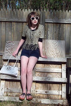 Shark Ade of California blouse - H&M shirt - Old Navy sunglasses - kohls shorts