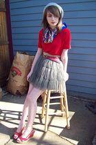 ann taylor shirt - thrifted scarf - consignment shop skirt - belt - hat - Cassie