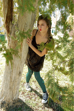 brown Forever 21 dress - green Betsey Johnson tights - black Hot Topic tights -