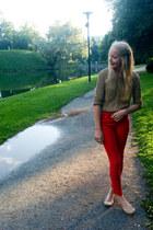 camel Zara cardigan - red Zara pants - nude flats