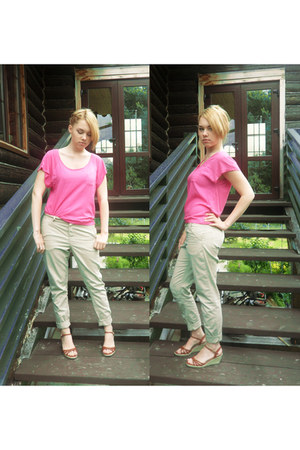 hot pink pink H&M shirt - beige beige H&M pants