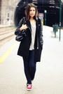 Black-sheinside-coat-black-parfois-bag-periwinkle-chicnova-top