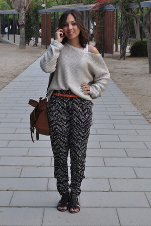 silver H&M jumper - black H&M pants - carrot orange H&M belt - black Local store