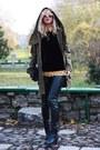 Black-topshop-boots-dark-khaki-zara-jacket-gold-h-m-romper