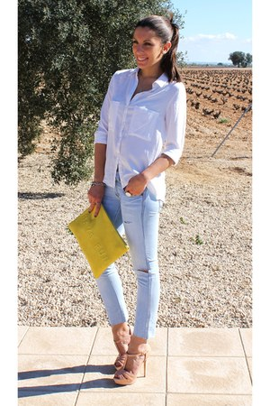 yellow Zara bag - sky blue pull&bear jeans - ivory Bershka shirt