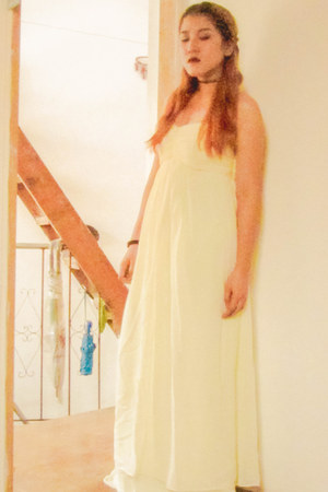 light yellow chiffon thrifted dress - black accessories