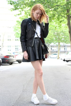 black silverblack jacket - black faux leather H&M skirt
