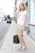 white H&M t-shirt - light pink J Crew pants