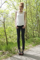 ivory Minimum blouse - gray acne jeans - black Jeffrey Campbell heels