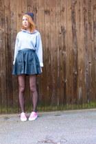 black pleather H&M skirt - heather gray thrifted vintage sweatshirt