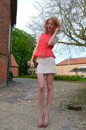 red peplum H&amp;M top - eggshell sequin H&amp;M skirt