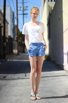 blue patterned Forever 21 shorts - white Nicole sandals