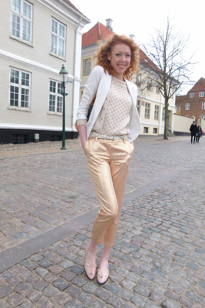 gold printed H&M pants - beige studded River Island sweater