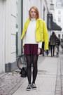 Yellow-edith-ella-jacket-white-scuba-front-row-shop-shirt-black-chanel-bag