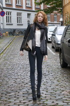 black vintage jacket - dark gray acne jeans - black Jeffrey Campbell heels