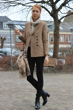 heather gray Zara sweater - light brown Zara blazer