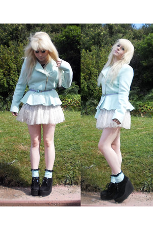 light blue mint peplum Primark jacket - light blue DIY socks