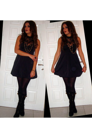 black Stradivarius dress - black Migato boots - gold Tally Weijl necklace - gold